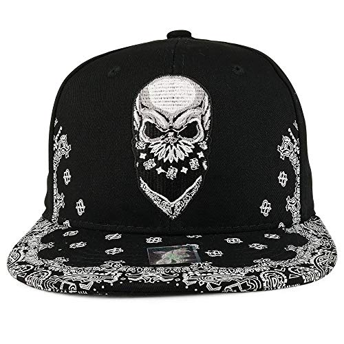 xdbgdfhdhdjdj Skull Bandana bestickt Snapback mit Paisley Print Flatbill Cap Gr. One size, Schwarz