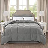 IGI All-Season Gray Down Comforter-100% Cotton Cover-Premium Quality Goose Duck Down Feather Filling-Duvet Insert/Stand Alone-4 Corner Loops-Queen Size-90×90'