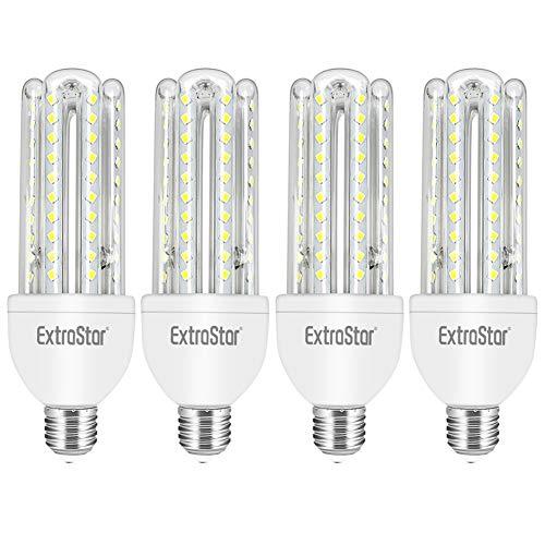EXTRASTAR - Bombilla LED 4U, E27,14W, Ángulo 360°, Luz Blanca Fría 6500K, 1260 lúmenes, no regulable -Pack de 4 [Clase de eficiencia energética A+] (Blanca Fría (6500K)) …
