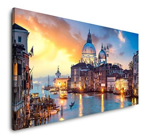 Paul Sinus Art Venedig Panorama 120x 60cm Panorama Leinwand Bild XXL Format Wandbilder Wohnzimmer Wohnung Deko Kunstdrucke