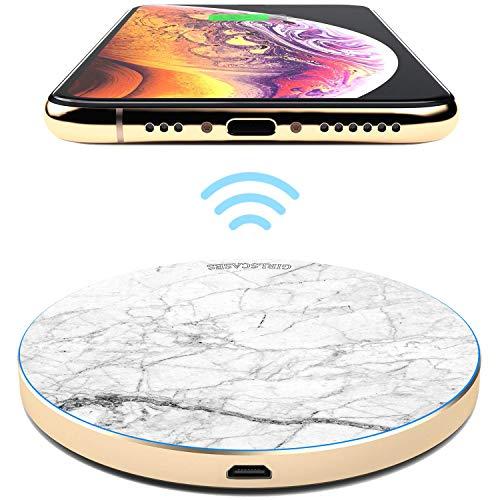 TheSmartGuard 10W Wireless Charger Qi Ladegerät Induktive Ladestation kompatibel für iPhone XS/XR/X/8 Samsung S10/S9/S8/S7 Note 9/8 Huawei P30 Pro usw   Marmor Marble White&Black Weiß Schwarz