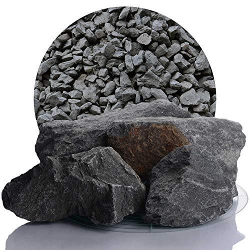Schicker Mineral Grauwacke Splitt anthrazit 25 kg in der Größe 60-150 mm, ideal zur Gartengestaltung, dunkler Naturstein Ziersplitt (60-150 mm)