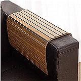 Bandeja de madera de bambú para sofá flexible y plegable, ideal para bebidas, aperitivos, mando a distancia o teléfono. Gran bandeja para reposabrazos para sofá, cocina y hogar