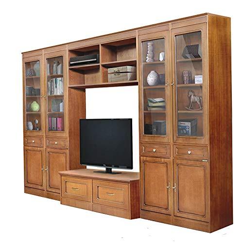 Arteferretto Klassische Wohnwand TV-Möbel Breite 320 x Höhe 220 cm, Holzmöbel im klassisch modern Stil mit Vitrine und TV-Anrichte, Anbauwand Einzelstuck Schon montiert, Italy