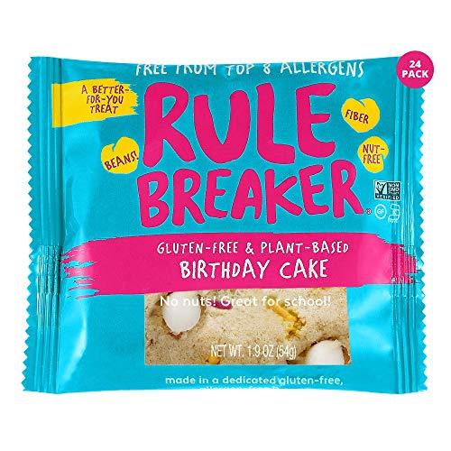 Rule Breaker Snacks Vegan Cookies | Gluten Free, Nut Free and Great for School, Allergen Free, Kosher, Plant Based, Chickpea Based Blondie Brownies | As Seen on Shark Tank | Individually Wrapped 1.9oz Cookies, Birthday Cake (24 Pack)