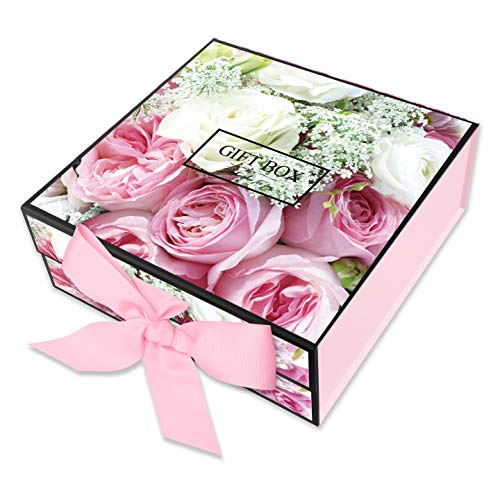 Gift Box Small Rectangle JIAWEI - 9.4x9.4x3.7inchs with Lids and Magnetic Closure for Weddings Birthday Bridesmaid Proposal and Baby Bridal Shower Fsa Gift Box Include a Greeting Card and Tissue Paper