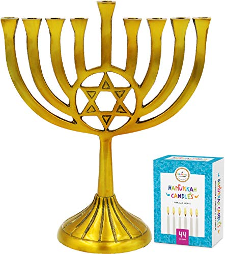 The Dreidel Company Menorah with Traditional Star Antique Gold Finish, Full Size 9