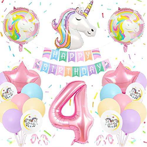Unicornio Globos Cumpleaños 4 Año,  Cumpleaños Unicornio Decoracion Pastel,  Globo Grande Número 4,  Globos Helio de Unicornio Enormes,  Suministros Fiesta Unicornio para 4 Años Fiesta Cumpleaños Niñas