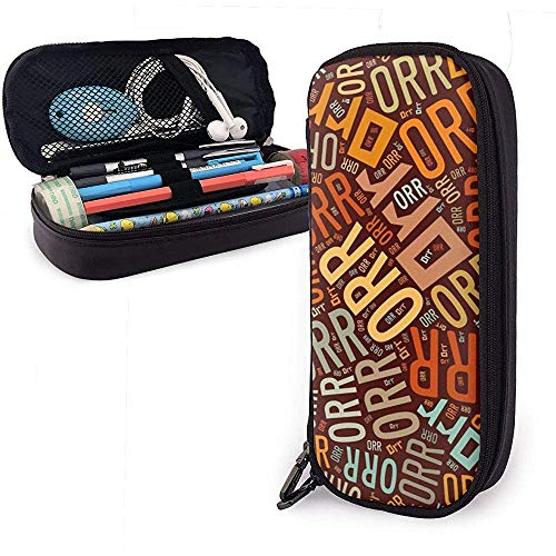 Orr Amerikaanse Achternaam Hoge Capaciteit Lederen Potlood Case Potlood Pen Houder Grote Opslag Pouch Box Organizer School Make-up Pen Studententas
