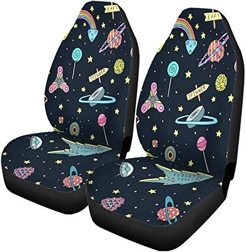 Set van 2 auto stoelhoezen speelgoed planeten sterren snoepjes lolly's ijs in de hemel universele auto voorstoelen beschermer past voor auto