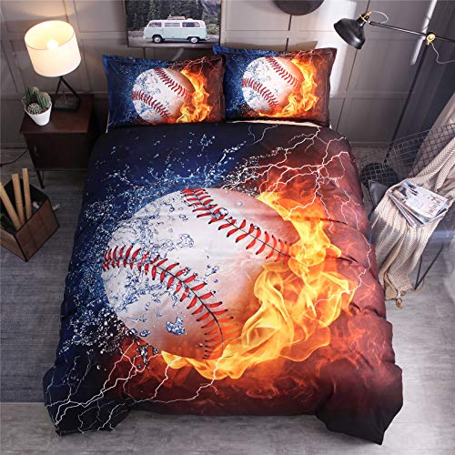 RENXR Blue Flame And Ice Soccer Duvet Cover Set 3D Printed Football Sport Bedding Set With Pillowcases, Zipper Closure, Soft Microfiber Quilt Cover,Queen