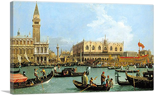 """ARTCANVAS The Bacino di S. Marco on Ascension Day 1733 Canvas Art Print by Canaletto - 18"""" x 12"""" (1.50"""" Deep)"""