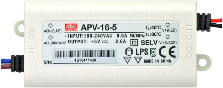 Mean Well APV-16-5 Max 72% OFF Finally popular brand 5V 2.6A Power Dust- Water LED Driver Supply