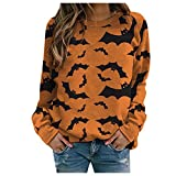 Halloween Sweatshirts for Women, Zellaite Womens Bats Print Sweatshirt Casual Loose Fit Graphic Sweater Pullover Tops Yellow
