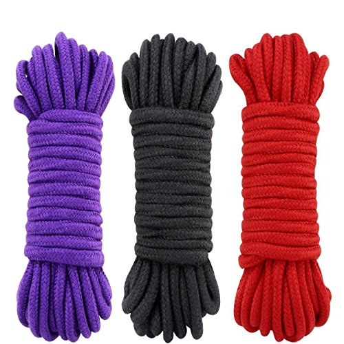 UWIME 3-Pack 32 Feet 10 Meter Soft Twisted Cotton Knot Tying Rope