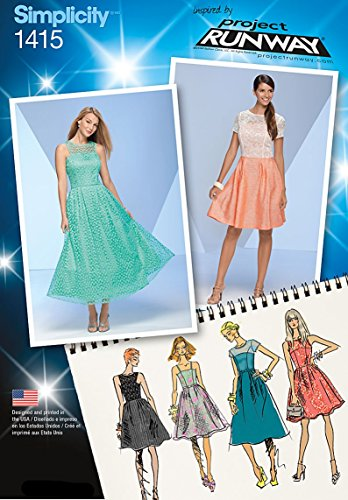 Simplicity Project Runway Pattern 1415 Misses Dress with Variations Sizes 4-6-8-10-12