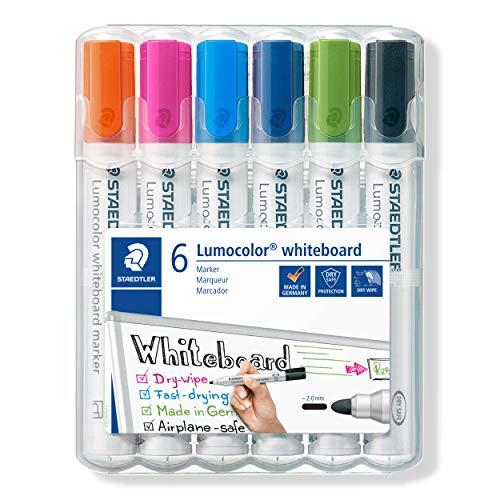 STAEDTLER 351 WP6-1 Lumocolor Whiteboard Marker. Estuche exclusivo STAEDTLER box con 6 marcadores para pizarra blanca, colores surtidos