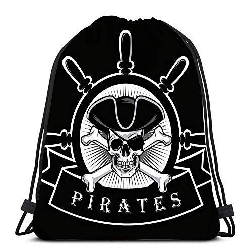 GeorgoaKunk Mochila Mochila con cordón Calavera Pirata con Parche en el Ojo y Logotipo de timón de Barco CHRI Negro
