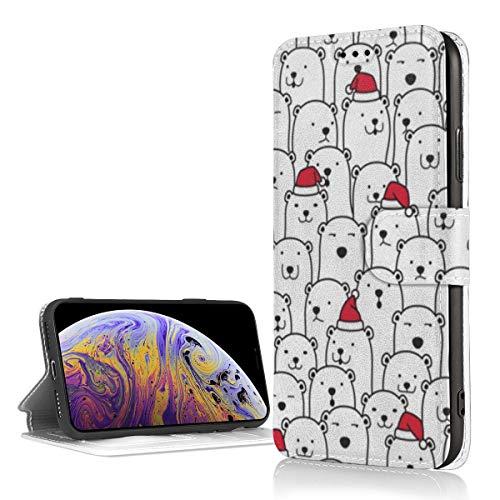 Oso Polar Navidad Santa Claus Navidad Sombrero PU Cartera de Cuero Funda para Teléfono para iPhone XR 5.8 Pulgadas Funda Flip Folio Funda para Teléfono con Ranuras para Tarjetas