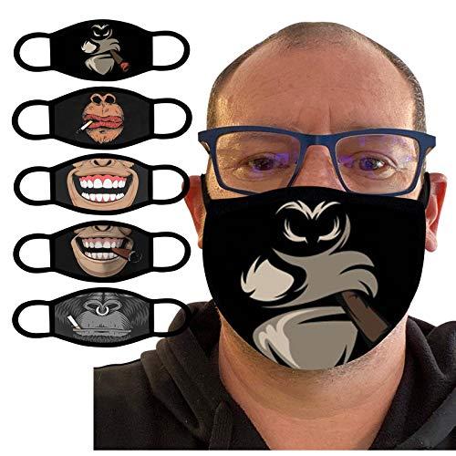 UOWEG Erwachsene Mund und Nasenschutz mit Lustiger Druck Motive Waschbar Mehrweg Multifunktionstuch Mundschutz Maske Halstuch Bandana Stoff Geeignet für Männer und Frauen
