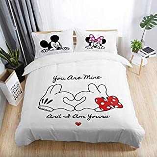 Best Quality - White Red Mickey Minnie Mouse 3D Printed Bedding Sets Adult Bedroom Decoration Duvet Cover Set Size - US King(3pcs)