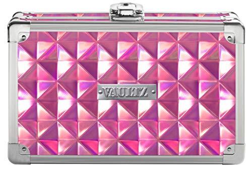 Vaultz Locking Supplies & Pencil Box with Key Lock, 5'x 2.5'x 8.5', Pink Reflective Diamond (VZ00777)