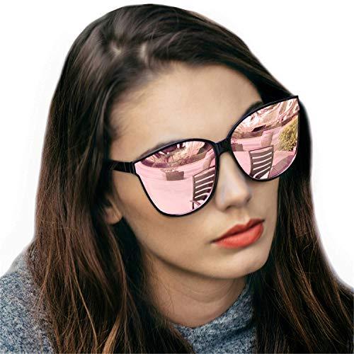 Gafas de sol estilo ojo de gato extragrandes con lentes de protección 100% UV polarizadas para las mujeres que conducen gafas de moda (Oro rosa/Lente Azul)