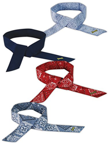 Occunomix MC940B100 Cooling Bandana, Cotton, 4 Assorted Colors (Pack of 100)