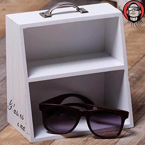 BAKAJI brillenrek van hout 2 legplanken met greep 17 x 10 x 19 cm