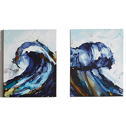Madison Park Liquid Waves Abstract Hand Embellished Blue Canvas Wall Art 22X28 2 Piece Multi Panel, Coastal Wall Décor