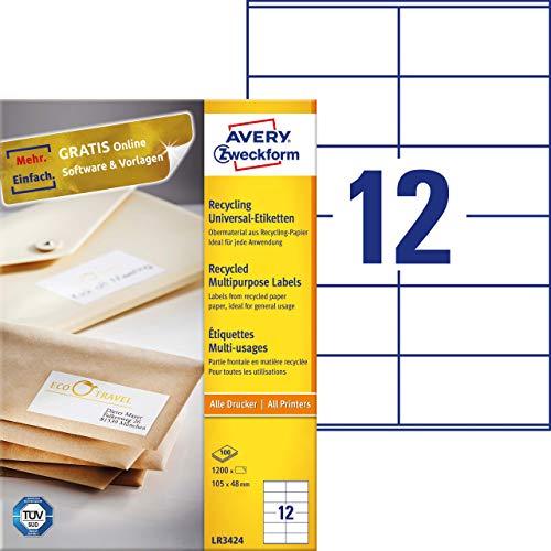 AVERY Zweckform LR3424 Recycling Etiketten (1.200 Universal Aufkleber, 105x48 mm auf DIN A4, Papier matt, 100 Blatt bedruckbare, selbstklebende Klebeetiketten) naturweiß