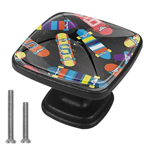 (4 piezas) 1.18 pulgadas pomos cuadrados de cristal para cajones con tornillos para cocina, aparador, armario, cuarto de baño, armario y tabla de skate