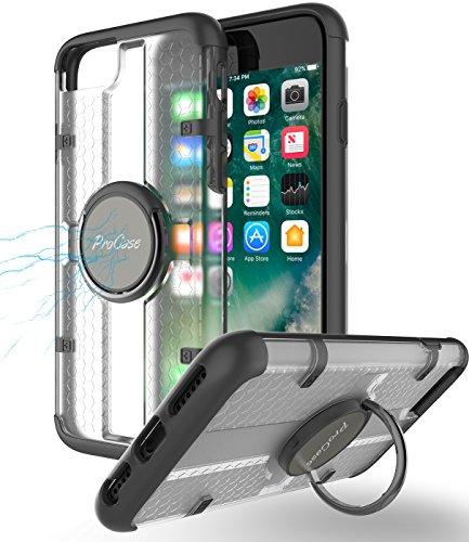 iPhone 7 Hülle mit Handgriff Ring Halter, ProHülle Multifunktions-Abdeckung mit drehbarem Ring Halter Ständer für magnetischen Auto Mount Halter, Kickstand Hülle für Apple iPhone 7 4,7 Zoll 2016 -Schwarz