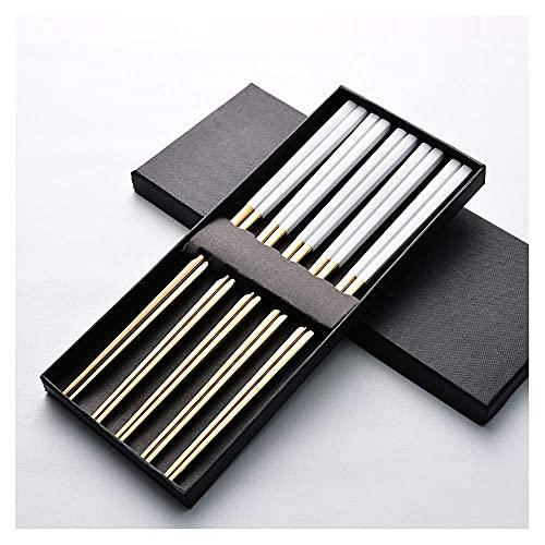 GaoF 2 Juegos de Palillos y cucharas Reutilizables Coreanas de Oro, cucharas de Palillos de Acero Inoxidable 304, vajilla de Metal de Cocina para 2