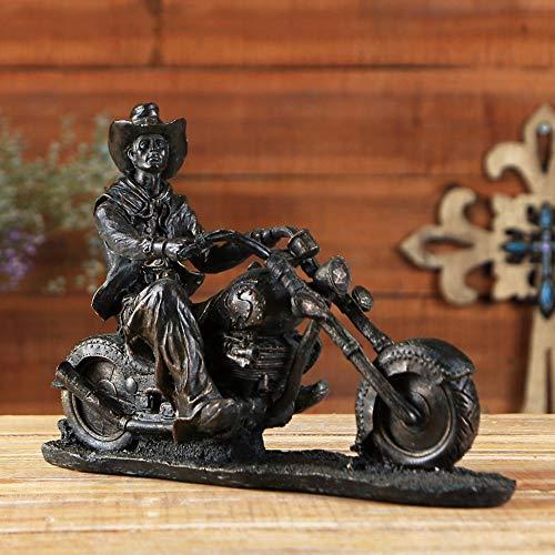 DAMAI STORE Kunst Western-Stil Cowboy EIN Motorrad Schmuck Harz Handwerk Kreative Hauptdekorationen Wohnzimmer Schlafzimmer Esszimmer Der Reiten (33,3 * 11,1 * 22.5CM) Schmücken