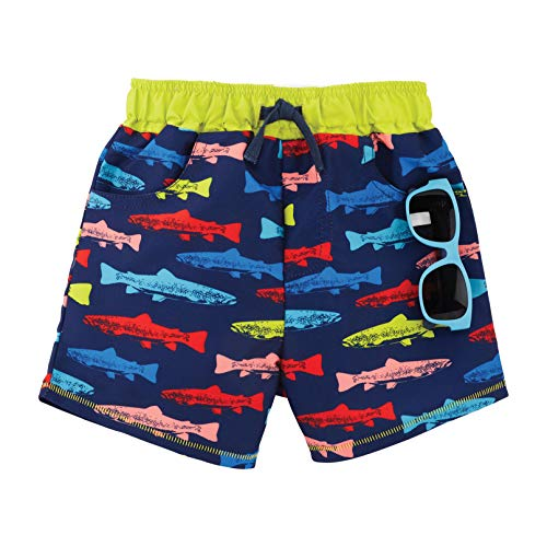 Mud Pie Boys Fish Swim Trunks with Sunglasses, Blue, 12-18 Months