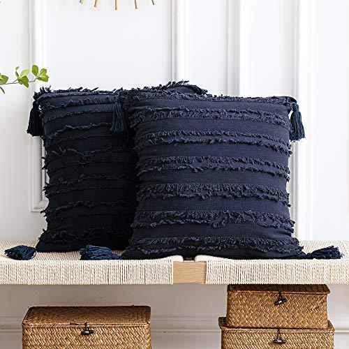 DEZENE Fundas de Almohada Azul Marino: Paquete de 2 Fundas de Almohada Decorativas Cuadradas de Lino de Algodón con Rayas Boho de 45x45 cm con Borlas para Sofá de Sofá de Granja