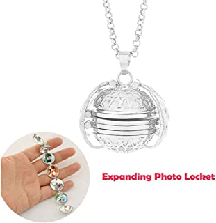 SuperThinker Expanding Photo Locket Necklace Pendant 4 Pictures Frame Gift Jewelry Decoration for Kids,Women,Boys (Silver)