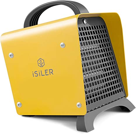ISILER Space Heater, 1500W Portable Indoor Heater, Ceramic Space Heater Adjustable Thermostat Tip-Over Overheat Protection, Hot Cool Fan Electric Heater for Home Office Garage with ETL Certified: image