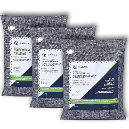 Bamboo Charcoal Air Purifying Bags (3 Pack),Activated Carbon Charcoal Bags Odor Absorber, Moisture Absorber,Charcoal Bags Odor Absorber for Home and Car