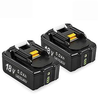 2X HYG BL1850B 18V 5.0Ah batería de repuesto de litio compatible Makita BL1860B, BL1860, BL1850B, BL1850, BL1840B, BL1840, 194204-5,196399-0,196673-6, LXT-400 con indicador