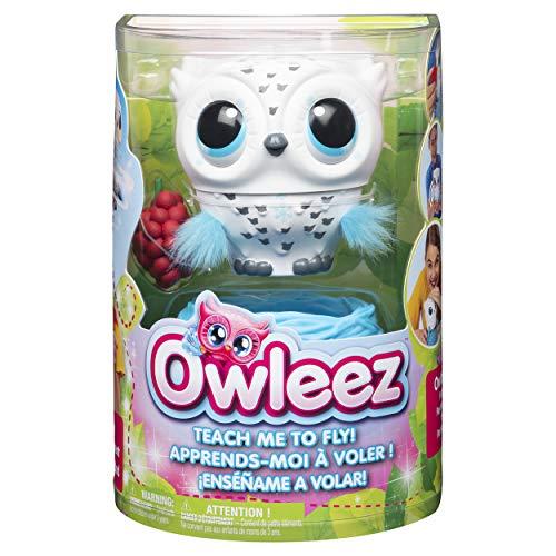 Owleez fliegende interaktive Spielzeug - Babyeule mit Leuchteffekten und Sound, weiß