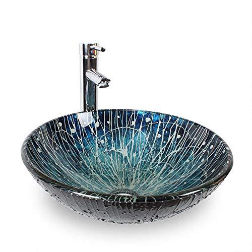 Yhjkvl Lavabo redondo con grifo y latón macizo, con textura azul, para baño (color: azul, tamaño: 42 x 42 x 14,5 cm)