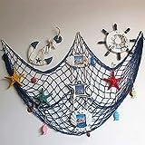 Ruick - Red de pesca decorativa de pared, conchas de playa, para fiestas o para la puerta, estilo mediterráneo, pegatinas náuticas, manualidades, fondo de pared