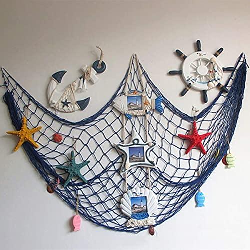 Ruick Filet de pêche décoratif, style plage et bord de mer, décoration murale avec coquillages, décoration de porte de style méditerranéen, autocollants de style nautique