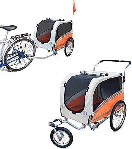 Remolque de bicicleta de 2 en uno multifunción/trolley de transporte de cochecitos para bebés,Orange-Small