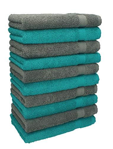 Betz 10 Stück Gästehandtücher Premium 100% Baumwolle Gästetuch-Set 30x50 cm Farbe smaragdgrün und anthrazit