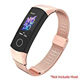 SenMore Correa Compatible para Honor Band 4 Band 5, Pulsera Correa de Acero Inoxidable Agradable Impermeable reemplazo Correa para Huawei Honor Band 5 Band 4 (No Host) (For Honor Band 5/4, Oro Rosa)