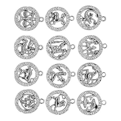 EXCEART Zodiaco Encanto Redondo 12 Constelación Zodiaco Signo Colgante de La Suerte para Collar Pulsera Joyería Que Hace Plata 12 Piezas