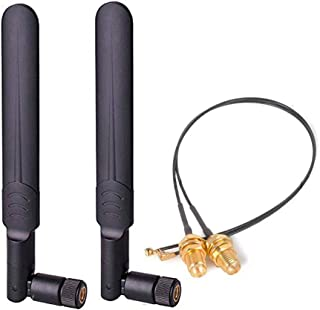 DANUC 2pcs 8dbi 2.4GHz 5GHz Dual Band WiFi RP-SMA Antenna + 2 x 20cm IPEX Cable for Intel 9260 8265 7265 M.2 NGFF Card Wir...